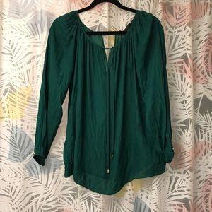Zara green silk blouse